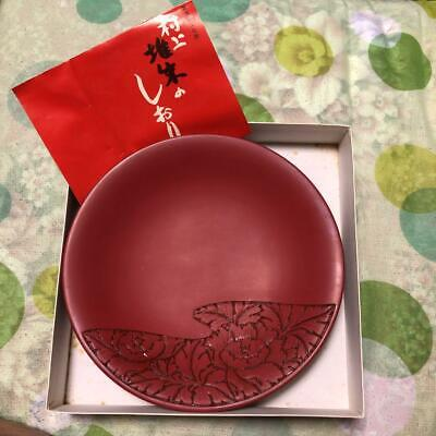 Unused Japanese Traditional Wooden Lacquer Murakami Tsuisyu Confectionery Plate