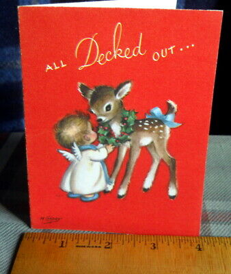 Vintage Marjorie M Cooper little angel ;decks fawn with wreath Rust Craft signed