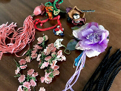 Antique Vintage Lot Of Floral / Tassels Dress Hat Trims Etc