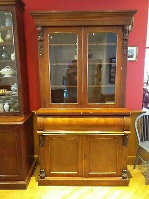 VICTORIAN MAHOGANY antique BOOKCASE glazed pull out SECRETAIRE cabinet c. 1850