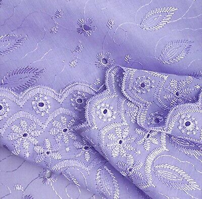 """Double Scalloped Finished Edge Eyelet Lace Fabric by the Yard, 43-44"""" Wide"""