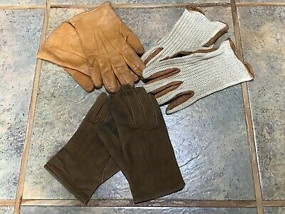 3x Pairs of Vintage Ladies Gloves in Leather and Suede