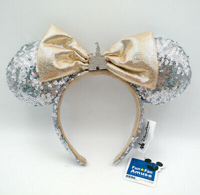 Bow Mickey Mouse Minnie Ears Sequins Disney Parks Castle Jewel Silver Headband