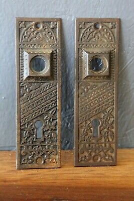 VINTAGE ANTIQUE DOOR LOCK PLATES WITH KEY hole SET OF 2 Brass victorian old