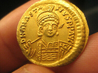 authentic Byzantine GOLD coin Anastasius I 491-518 SOLIDUS - 4.45g