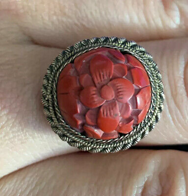 ANTIQUE SIGNED CHINA EXPORT SILVER CARVED FLORAL DETAILS CINNABAR RING Sz 10