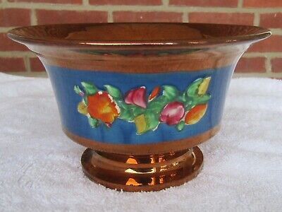Antique Copper Lustre Footed Sugar Bowl Decorated Blue Band, Flowers