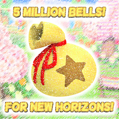 Get 5 Million Bells | For Animal Crossing New Horizons | Nintendo Switch | Acnh