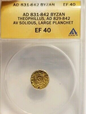 Byzantine Empire Theophilus Gold Solidus ANACS XF40 Ancient Coin