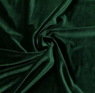 """Stretch Hunter Green Velvet Costume / Dress Fabric 58"""" Wide Sold By The Yard"""