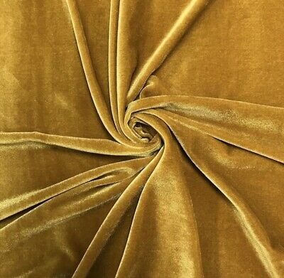 """Stretch Gold Velvet Costume / Craft Dress Fabric 58"""" Wide Sold By The Yard"""