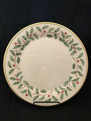 """Lenox Holiday Holly Berry 11 3/4"""" Round Platter/Tray 24k Gold Trim Mint"""