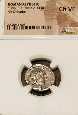 Roman Republic C.Vibius C.F. Pansa Denarius NGC Choice VF Ancient Coin