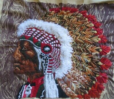 vintage erica wilson inidan chief crewel tapestry -mostly stitched 1975 RARE