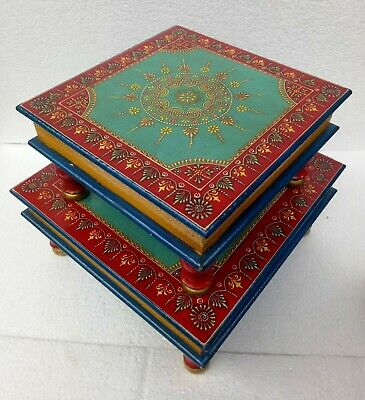Wood Stool Table Wooden Chowki Bajot Hand Crafted Hand Painting  Art Lot of 2