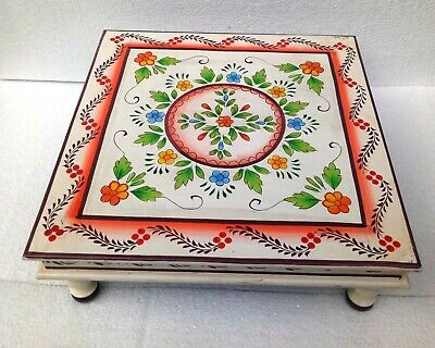 Wood Stool Table Wooden Chowki Bajot Hand Crafted Hand Unique Painting Home Art