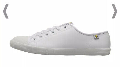 BRS* Lyle And Scott Vintage Mens Tima Leather Trainers White Uk 12