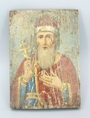 RARE Antique 19c Russian Hand Painted Wood Icon Saint Vladimir 16x23cm