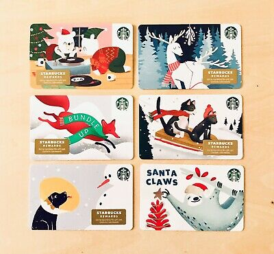 🌲6 Starbucks Pets Winter Animals Holiday 2019 Gift Cards Christmas Lot New