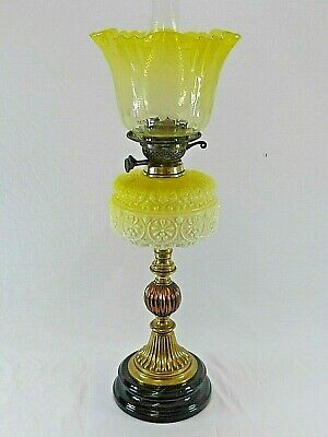 Original Victorian Duplex Oil Lamp with Fancy Etched Shade