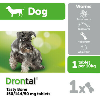 Drontal wormer for Dog & Puppies allwormer 6 tabs worming. Bayer made in Germany