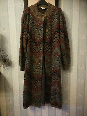 Vintage 1980s Long Cardigan with scarf Chevron multi colour Pattern Size 10/12