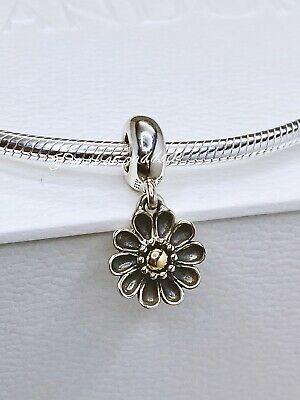Authentic Pandora Sterling & 14kt Oopsie Daisy Flower Charm W/ Gift Pouch