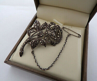 French Antique Vintage Art Deco Silver Marcasite Safety Chain Pin Brooch