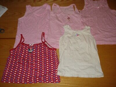 5X Girl's Vests Age 6-7 Used Vgc Job Lot Primark/Matalan