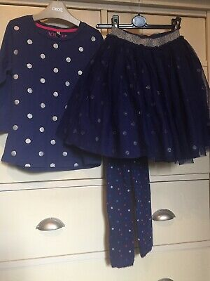 Joules Girls Blue And Silver Spot Party Skirt Top And Footless Tights 7-8 Years
