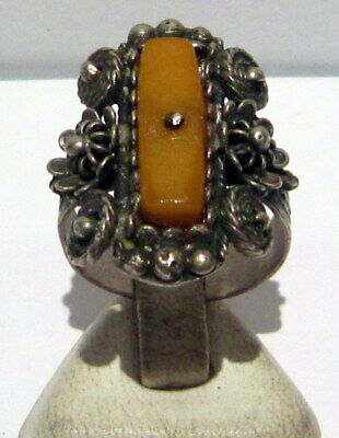 Excellent 19/20Th C Silvered Ring With Natural Baltic Amber And Filigree  # 126