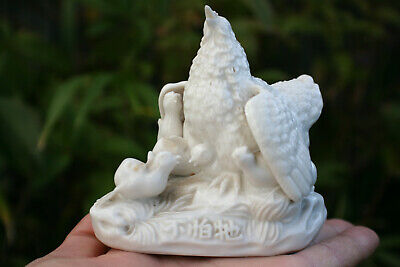 Chinese White Porcelain Carved Small Chicken Hen Chicks Figurine - Marks