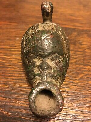 Bronze Roman Oil Lamp Shaped As The Head Of An African Male - 1st Century AD