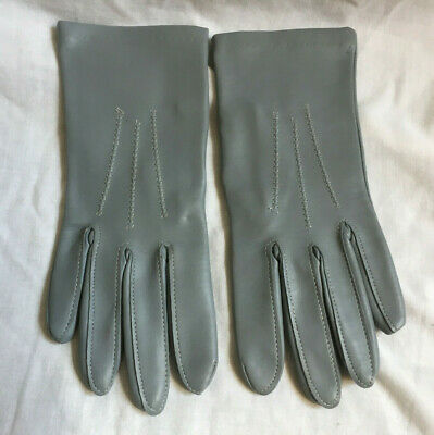 VINTAGE DENTS Ladies Grey Vinyl Faux Leather Wrist Gloves - Size 7 NEW UNUSED