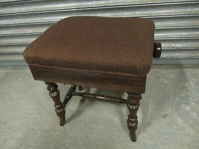 A Marsden Victorian 19th Century Mahogany Adjustable Piano Stool Rise Fall