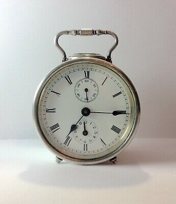 Antique Silver French Drum Carriage Clock With Alarm