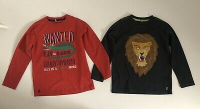 JOULES Boys Bundle 2x Long Sleeved Tops Grey And Red Size Aged 7-8 Years