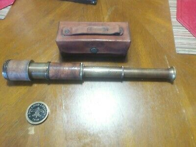 Antique Brass DOLLOND LONDON 1920 Maritime Telescope Nautical with Leather Case