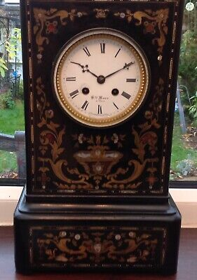 Antique French Ebonised Boulle Clock 1820