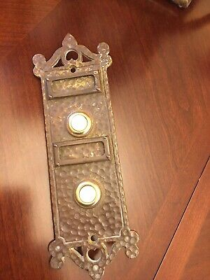 VINTAGE  HEAVY  BRASS  DOORBELL Victorian Style PLATE 2 BUTTONS
