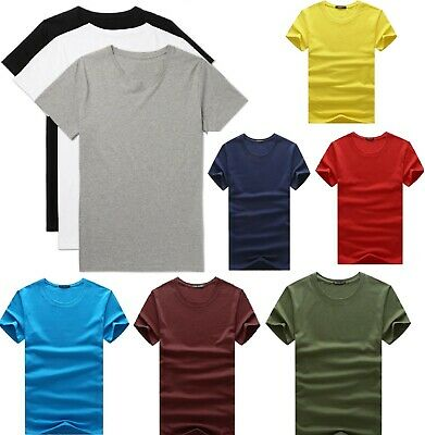 Men's Plain Blank Premium heavy Cotton T-shirt Basic Tee Short Sleeve New AU