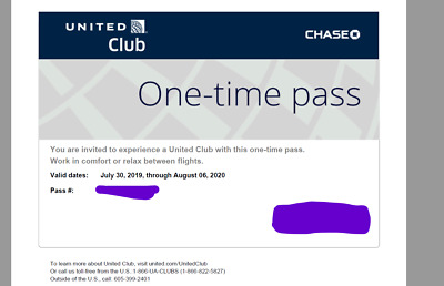 Two (2) United Club One Time Passes - Expires Aug 6, 2020 - Email Delivery