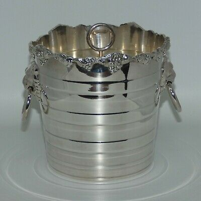 Old Sheffield Reproduction Silverplate Strachan Ice Bucket with lion handles