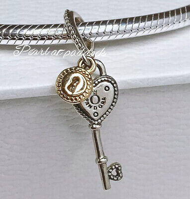 Authentic Pandora Sterling Silver & 14kt Gold Heart Shaped Key Charm W/ Pouch