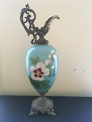 Antique Ewer Urn Vase Pitcher - Hand Painted blue/white  flower Porcelain