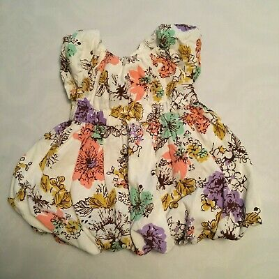 Old Navy Baby Girls Short Sleeve Floral Flower Print Dress 12-18 M Lined