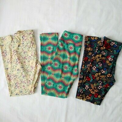 NWOT Lularoe Tween Girls Leggings Lot of 3 Floral Geometric Christmas Holiday