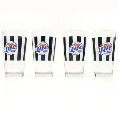 Set of 4 Miller Lite Black White Striped Glasses 2006