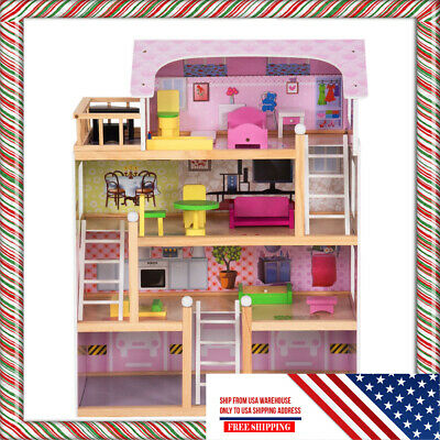 NEW Kids Wood Dollhouse Cottage Playset with Furniture Best Gift