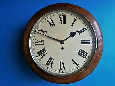 #051 Antique Oak Cased Fusee Dial Wall Clock